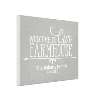 Welcome to our Farmhouse - Distressed Canvas Print