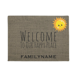 Welcome to Our Happy Place Rustic Burlap Name Doormat