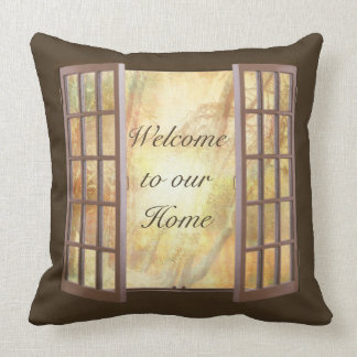 Welcome to our Home Open Window Pillow