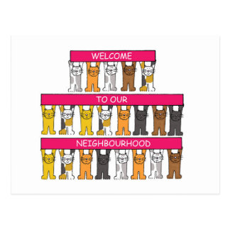 Welcome to our neighbourhood, cartoon cats. postcard