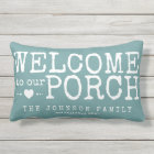 Welcome to our Porch Custom Family | Aqua & White Outdoor Cushion