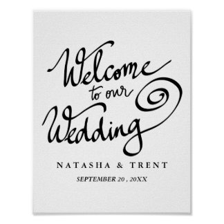 Welcome To Our Wedding Chic Calligraphy Script Poster