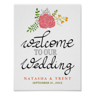 Welcome To Our Wedding Pink Flower Calligraphy Poster