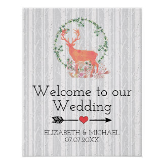 Welcome to our Wedding Rustic Watercolor Reindeer Poster