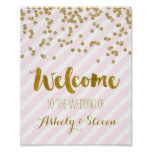 Welcome to our Wedding Sign Pink Gold Stripes Poster