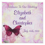 Welcome To Our Wedding Watercolor Butterfly Poster