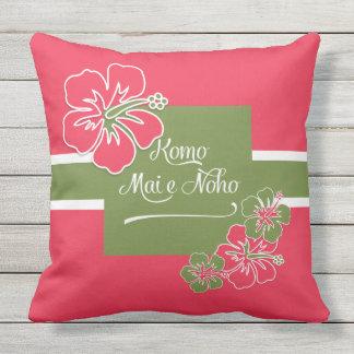 Welcome to Paradise Hot Pink Hibiscus Hawaiian Cushion