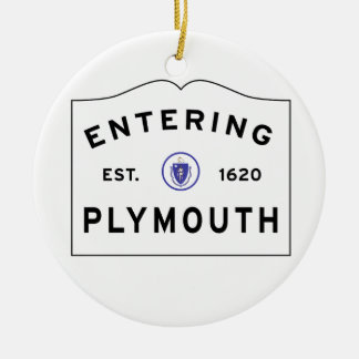 Welcome to Plymouth MA town sign Christmas Ornament