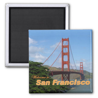 Welcome to San Francisco - Golden Gate Bridge Square Magnet