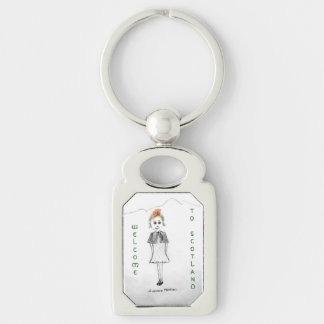 Welcome to Scotland Silver-Colored Rectangle Key Ring