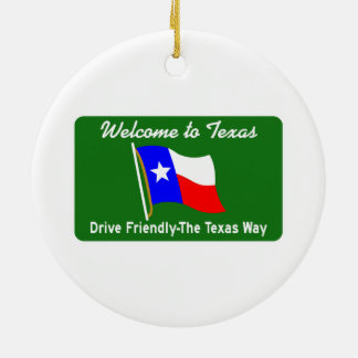 Welcome to Texas - USA Road Sign Round Ceramic Decoration