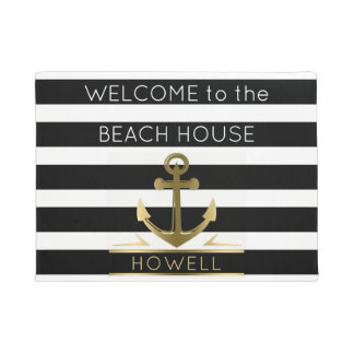 Welcome to the Beach House Nautical Anchor Name Doormat