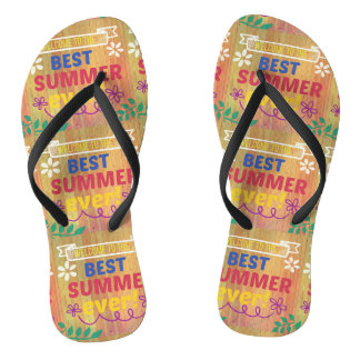 welcome to the best summer ever pillow wood style flip flops