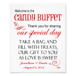 Welcome to the Candy Buffet Red Wedding Sign