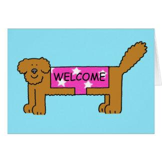 Welcome to the club/neighbourhood, dog in coat. card