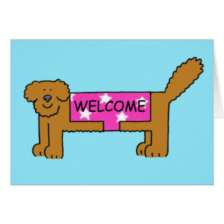 Welcome to the club/neighbourhood, dog in coat. greeting card