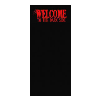 WELCOME TO THE DARK SIDE RED BLACK MOTTO COMMENTS 10 CM X 23 CM RACK CARD