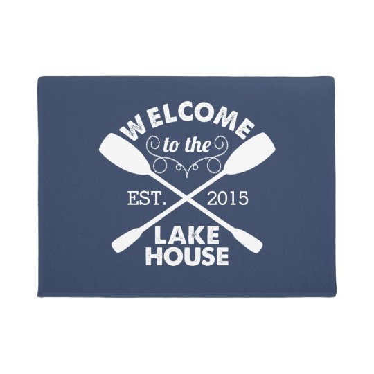 Welcome to the Lake House | Navy & White Paddles Doormat