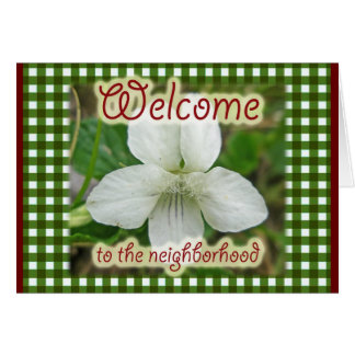 Welcome to the Neighborhood White Violet Greeting Card