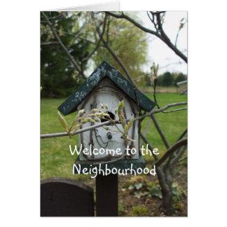 Welcome to the Neighbourhood-bird house Greeting Cards