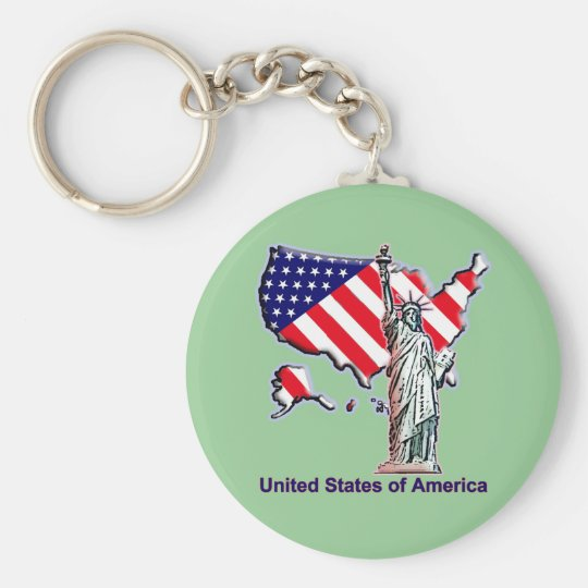Welcome to the USA Basic Round Button Key Ring