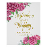 welcome to the wedding peony rose sign pink gold poster