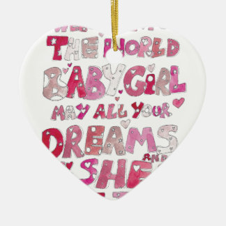 Welcome To The World Baby Girl Ceramic Heart Decoration