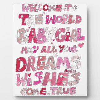Welcome To The World Baby Girl Plaque
