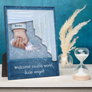Welcome to this World, little Angel Boy Plaque