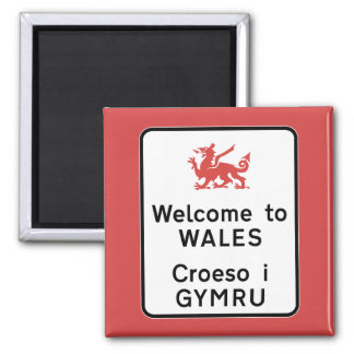 Welcome to Wales Sign, UK Square Magnet