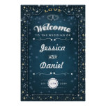Welcome to Wedding 24x36 Teal Gold Hearts & Stars Poster