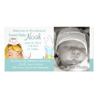 Welcome to Wonderland Birth Announcement Custom Photo Card