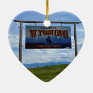 Welcome to Wyoming Ceramic Heart Decoration