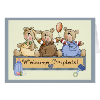 Welcome Triplets Greeting Card