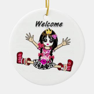 Welcome txt round ceramic decoration