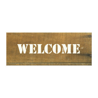 Welcome Vintage Inspired Old Wooden Sign Canvas Print