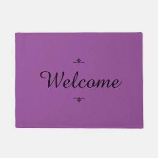 """""""Welcome"""" Violet Doormat"""