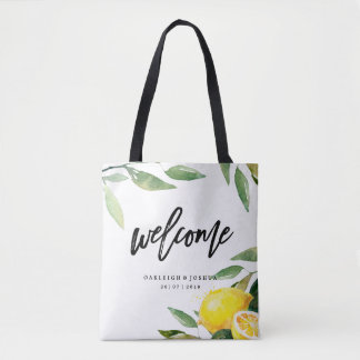 Welcome Watercolor Lemon Bohemian Wedding Tote Bag