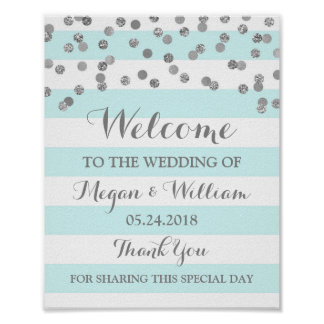 Welcome Wedding Sign Blue Stripes Silver Confetti Poster
