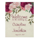 Welcome wedding sign burgundy pink floral