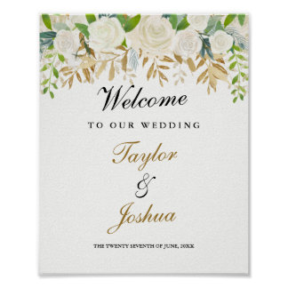 Welcome Wedding Sign Gold Floral Leaf Watercolor