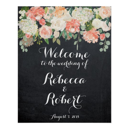 Welcome wedding sign peach ivory floral chalkboard poster