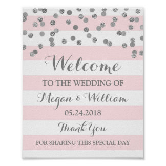 Welcome Wedding Sign Pink Stripes Silver Confetti Poster