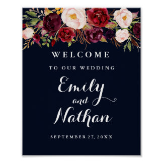 Welcome Wedding Sign Rustic Burgundy Navy Floral