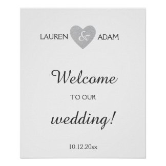 Welcome wedding sign silver glitter heart, custom