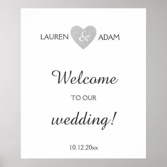 Welcome wedding sign silver glitter heart, custom