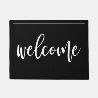 Welcome White Script Doormat