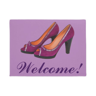 Welcome with high heeled purple shoes doormat