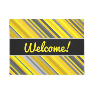 """Welcome!"" + Yellow & Gray Stripes Pattern Doormat"