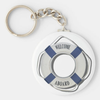 WelcomeAboardLifePreserver071812.png Basic Round Button Key Ring
